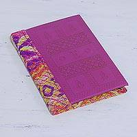 Leather accent cotton journal, 'Berry Delight' - Leather Accent Cotton Journal in Berry from India