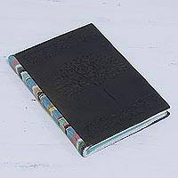 Leather accent cotton journal, 'Wishing Tree' - Leather Accent Cotton Journal in Onyx from India