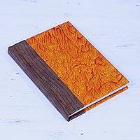 Leather accent cotton journal, 'Passionate Fire' - Leather Journal in Brown and Burnt Orange from India