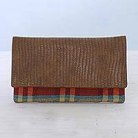Leather accent cotton clutch, 'Vibrant Checks' - Leather Accent Cotton Clutch with Checks from India