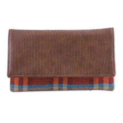 Leather Accent Cotton Clutch with Checks from India