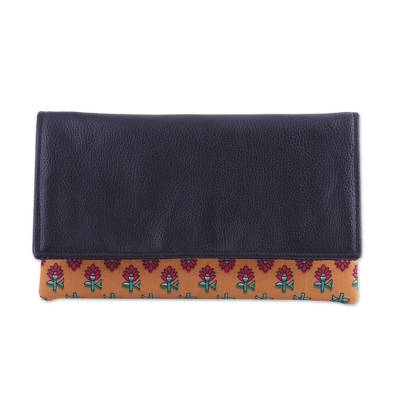 Leather Accent Cotton Clutch with Floral Motifs from India