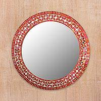 Glass mosaic wall mirror, 'Shimmering Blossoms' - Handcrafted Round Mosaic Multicolor Wall Mirror from India