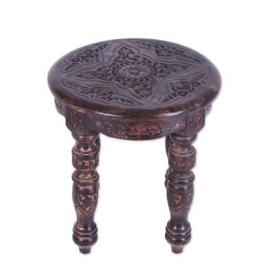 Wood accent table, 'Mughal Grandeur' (15 inch) - Unique Accent Table with Hand Carved Designs (15 inch)