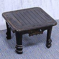 Wood foot stool, 'Blissful Floral Saga' - Square Mango Wood Foot Stool with Floral and Leaf Motif