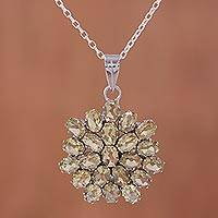 Citrine pendant necklace, 'Sunny Brilliance' - Twenty-Two Carat Citrine Pendant Necklace with Rhodium