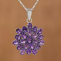 Amethyst pendant necklace, 'Purple Camellia' - Brilliant 22 Carat Amethyst Pendant Necklace