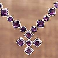 Amethyst pendant necklace, 'Glittering Harmony' - Handcrafted Rhodium Plated Amethyst Pendant Necklace