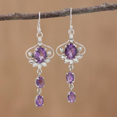 Amethyst dangle earrings, 'Royal Sparkle' - Rhodium Plated Amethyst Dangle Earrings from India