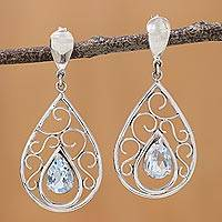 Blue topaz dangle earrings, 'Inspired Elegance' - Rhodium Plated Silver and Blue Topaz Dangle Earrings