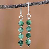 Quartz dangle earrings, 'Happy Delight in Green' - Quartz and Silver Dangle Earrings in Green from India