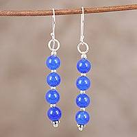 Quartz dangle earrings, 'Happy Delight in Deep Blue' - Blue Quartz and Sterling Silver Dangle Earrings from India