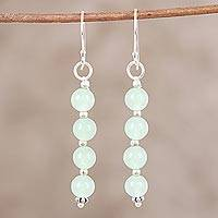 Quartz dangle earrings, 'Happy Delight in Light Green' - Light Green Quartz and Sterling Silver Dangle Earrings