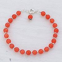 Quartz beaded bracelet, 'Happy Delight in Orange' - Quartz and Silver Beaded Bracelet in Orange from India