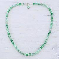 Quartz beaded necklace, 'Happy Delight in Light Green' - Quartz and Silver Beaded Necklace in Light Green from India