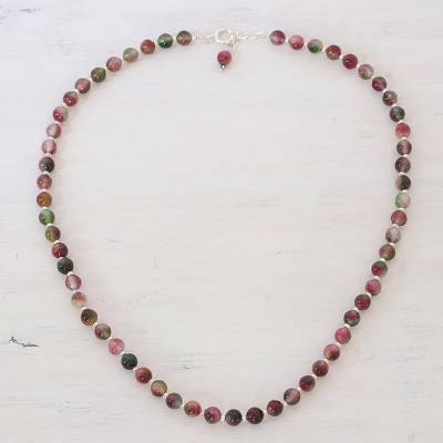 Quartz beaded necklace, 'Happy Delight' - Colorful Quartz and Silver Beaded Necklace from India