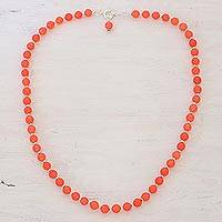 Quartz beaded necklace, 'Happy Delight in Orange' - Quartz and Silver Beaded Necklace in Orange from India