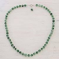 Quartz beaded necklace, 'Happy Delight in Green' - Green Quartz and Silver Beaded Necklace from India