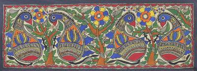 Signed Floral Madhubani Bird Painting from India