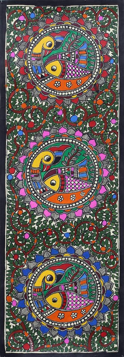 Signed Madhubani Painting of Birds and Fish from India