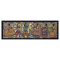 Madhubani painting, 'Marriage of Rama and Sita' - Signed Hinduism-Themed Madhubani Painting from India