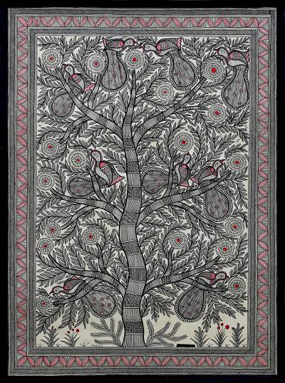 Signed Madhubani Painting of Birds in a Tree from India