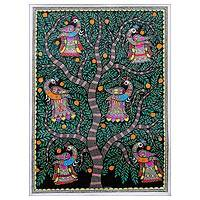 Madhubani painting, 'Tree of Life IV' - Signed Colorful Madhubani Painting of a Tree from India