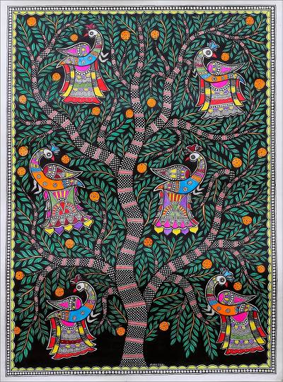 Signed Colorful Madhubani Painting of a Tree from India