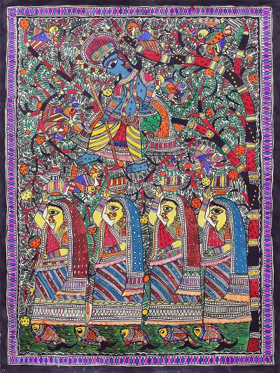 Signed Hinduism-Themed Madhubani Painting from India