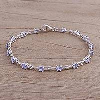 Rhodium plated tanzanite link bracelet, 'Radiant Infinity' - Rhodium Plated Tanzanite Link Bracelet from India