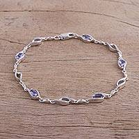 Rhodium plated tanzanite and topaz link bracelet, 'Stellar Style' - Rhodium Plated Tanzanite and Topaz Link Bracelet from Bali