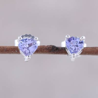 Rhodium plated tanzanite stud earrings, 'Lovely Glitter' - Rhodium Plated Tanzanite Stud Earrings from India