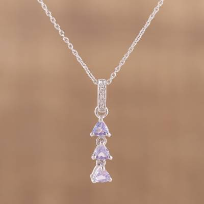 Rhodium plated tanzanite and topaz pendant necklace, 'Pyramids of Egypt' - Rhodium Plated Tanzanite and Topaz Pendant Necklace
