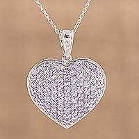 Rhodium plated tanzanite pendant necklace, 'Glistening Heart' - Rhodium Plated Tanzanite Heart Necklace from India