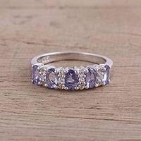 Rhodium plated tanzanite and topaz cocktail ring, 'Glittering Princess' - Sparkling Rhodium Plated Tanzanite and Topaz Ring from India