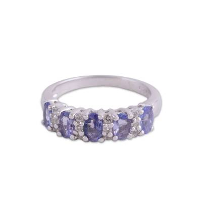 Sparkling Rhodium Plated Tanzanite and Topaz Ring from India
