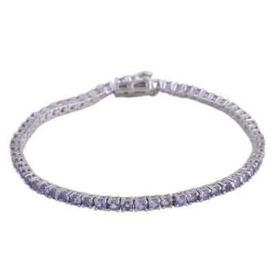 Rhodium Plated Tanzanite Tennis-Style Bracelet from India