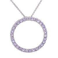 Rhodium plated tanzanite pendant necklace, 'Lilac Loop' - Circular Rhodium Plated Tanzanite Necklace from India