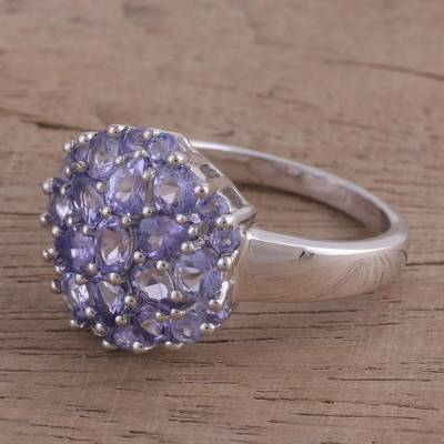 Rhodium plated tanzanite cocktail ring, 'Glittering Arrangement' - Rhodium Plated Tanzanite Cocktail Ring from India