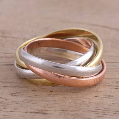 heart shaped ring holders - 4 Sterling Silver Copper and Brass Stacking Rings from India