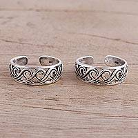 Sterling Silver Toe Rings Fascinating Swirls (pair) (india)