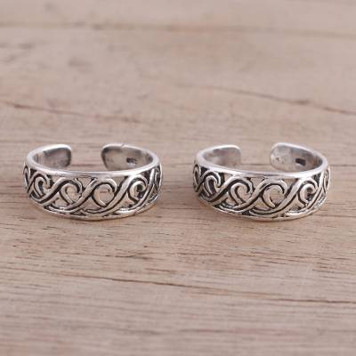 Sterling silver toe rings, 'Fascinating Swirls' (pair) - Handcrafted Sterling Silver Pair of Toe Rings from India