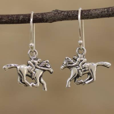 Sterling silver dangle earrings, 'Winning Horses' - Handcrafted Sterling Silver Horse Dangle Earrings from India