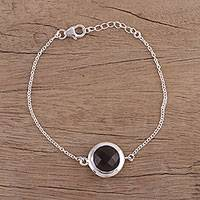 Smoky quartz pendant bracelet, 'Circular Shine' - Smoky Quartz and Sterling Silver Bracelet from India