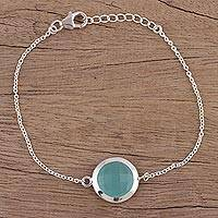 Chalcedony pendant bracelet, 'Circular Shine' - Chalcedony and Sterling Silver Pendant Bracelet from India