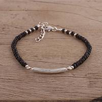 Smoky quartz pendant bracelet, 'Beauty Is Infinite' - Smoky Quartz Beaded Pendant Bracelet from India