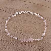 Rose quartz link bracelet, 'Luminous Pink' - Rose Quartz and Sterling Silver Link Bracelet from India