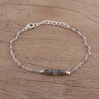 Labradorite link bracelet, 'Luminous Grey' - Labradorite and Sterling Silver Link Bracelet from India