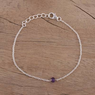 Amethyst pendant bracelet, 'Simple Trend' - Amethyst and Sterling Silver Pendant Bracelet from India