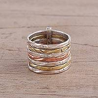 Sterling silver band ring, 'Classic Alliance' - Sterling Silver Copper and Brass Band Ring from India